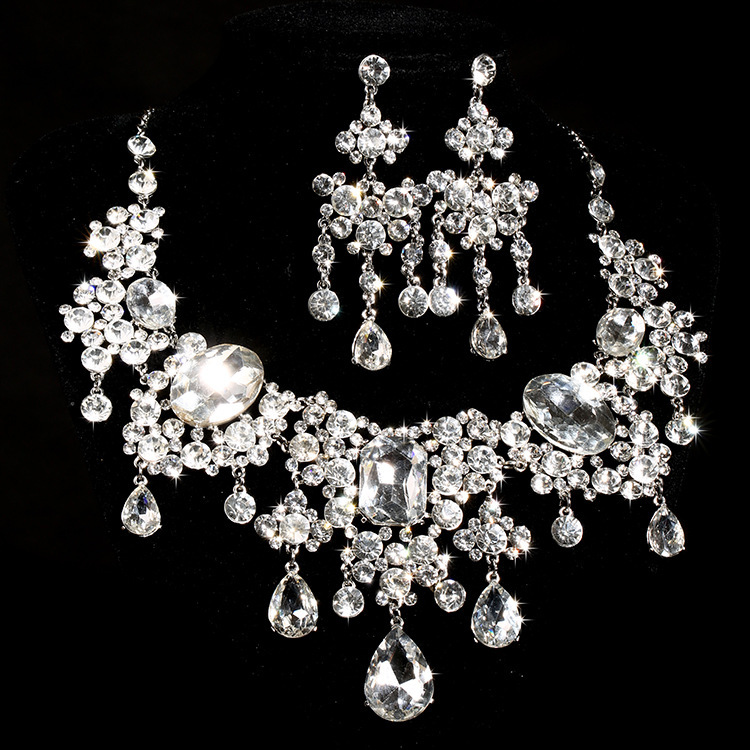 Cheap Wedding Jewelry: Bridal Necklace Earrings Set New Piece Of High Grade