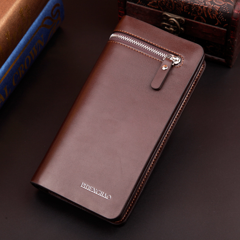 New Arrival Business PU Leather Men Wallets Long Desinger High Quality Zipper Bag Phone Wallets Hand