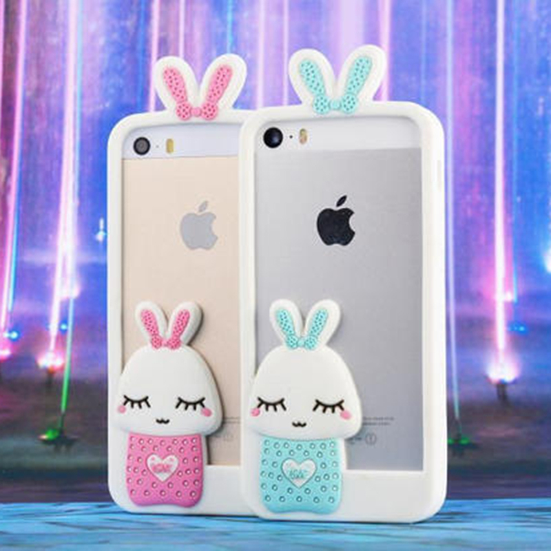 Hot Sell Luminous Rabbit Silicone Frame Case For IPhone6/6Plus Flash Lighten Mushroom Lovely Mobile Phone Shell Back Protector(China (Mainland))