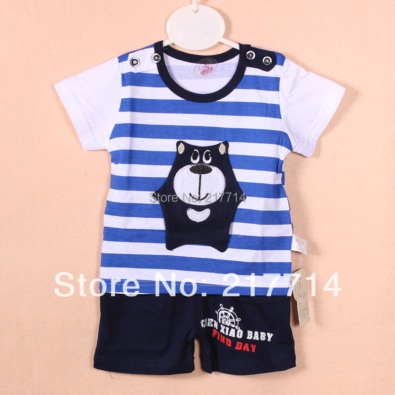 2014 fashion baby summer short sleeve suits small children character clothing set baby garment wholesale 6600(China (Mainland))