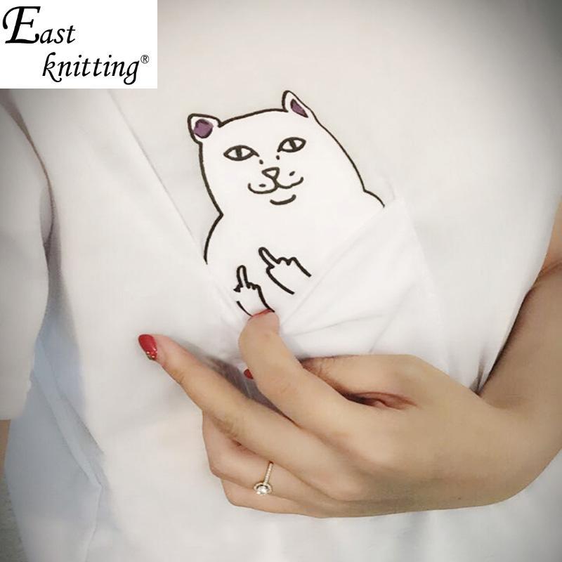 Восток вязание H149 кот карманные женщин т-обратно shirtSummer стиль Harajuku женщины топы