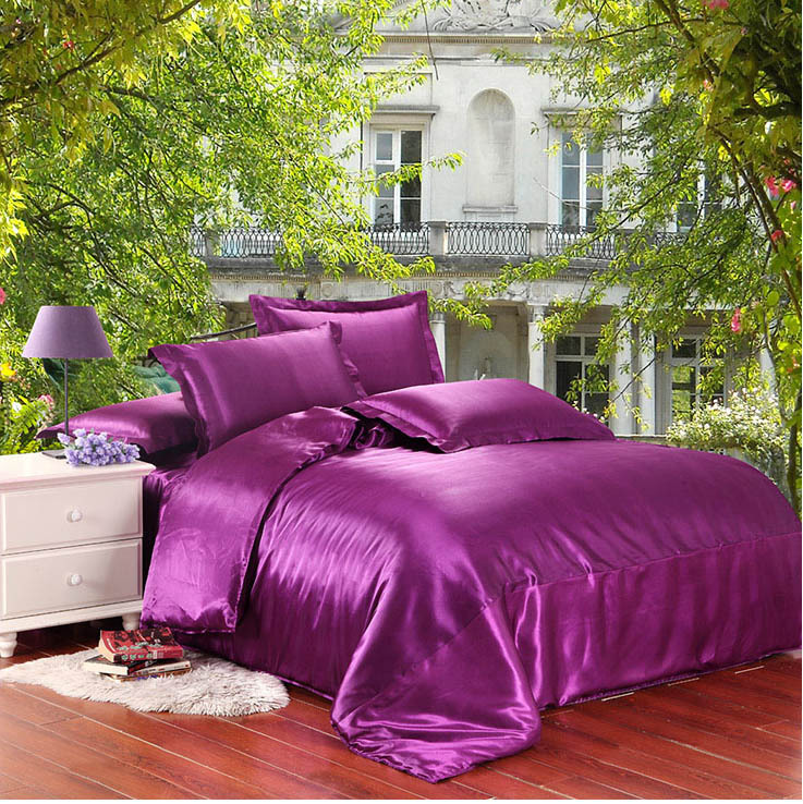 Purple 100% satin silk bedding set 2 sides silk bed sheet pillow cases comforter/duvet cover bed set Twin/Queen/King size/B5037(China (Mainland))