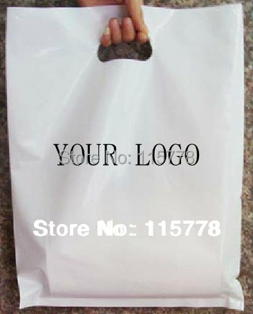 W30*H40cm(11.8' *15.7')costom logo promotion shopping bag/ custom printed logo white plastic packaging bag for hair or dress use(China (Mainland))