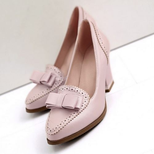 Fashion 2015 Medium Heels Pumps Sexy Cut-out Upper Thick Heels Summer Shoes Elegant Sweet Bowtie Mary Jane Pumps Shoe Size 33-43