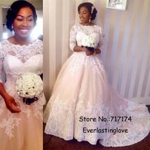 Three Quarter Sleeves A-Line White Appliques Lace Tulle Bridal Gown Vestido de noiva Plus Size Wedding Dress Robe de mariage(China (Mainland))