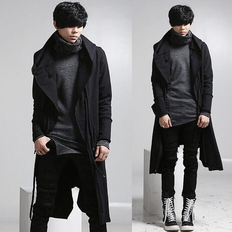Popular Black Long Coat Men-Buy Cheap Black Long Coat Men lots ...