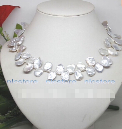854 genuine big white keshi pearl necklace jewelry gem(China (Mainland))