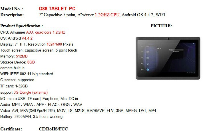 New 7 inch Q88 A33 Quad Core Tablet PC Capacitive Screen Android Tablet PC 4.4  512M 8G Dual Camera