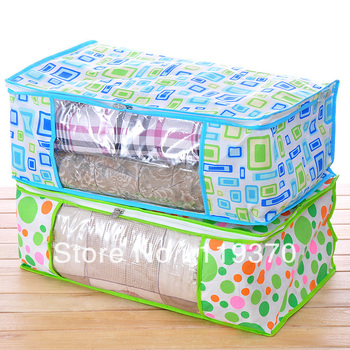 (min order is $9.99)Non-woven fabric and colorful dot grid clothes quilt storage bag d347-0.12-0.15-0.17-0.18