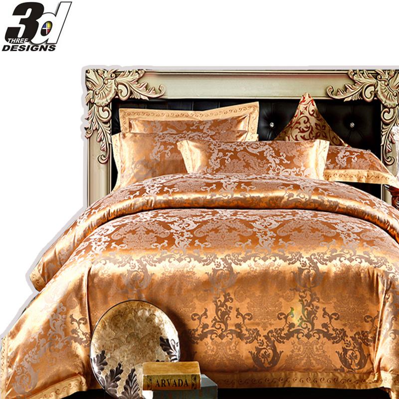 Zijde katoen luxe beddengoed koning queen size sprei dekbed dekbed 4pc laken kussensloop - Lakens en sprei ...