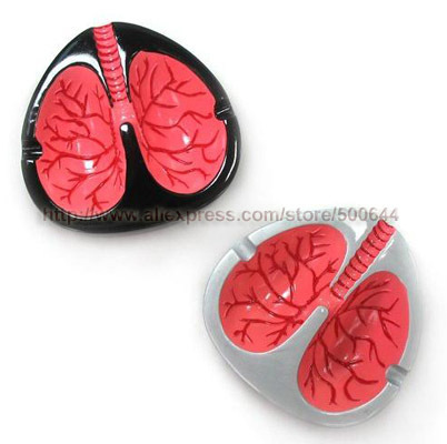 Novelty Lungs Shape Light Control Sensor Ashtray Coughing and Screaming Lung Ashtray Quit Smoking & 4PCS/Lot Free Shipping(China (Mainland))