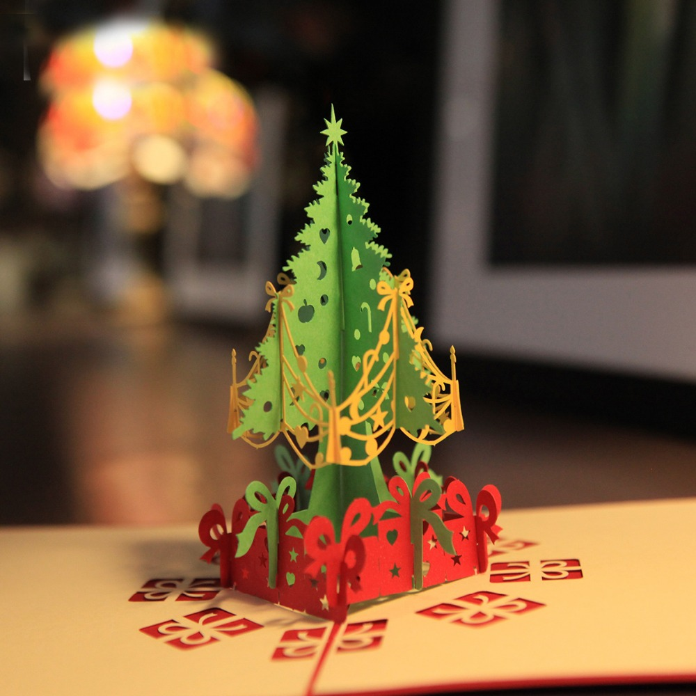 Handmade creative kirigami origami 3d pop up greeting for Kirigami christmas card