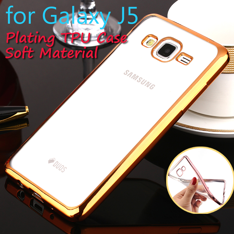 Phone Case For Samsung Galaxy J5 Plating Soft TPU Cases Transparent Rubber Mobile Phone Cover For Samsung J500 Wiht 4 Color(China (Mainland))