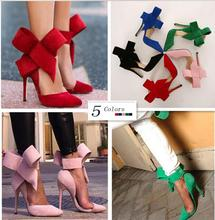 Women Pumps 2015 Sexy Butterfly Bow Pointed Toe High Heels Ladies Wedding Shoes Plus Size Shoes Woman Sapato Feminino 5 Colors(China (Mainland))