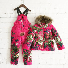 1set kids winter flower duck down jacket  overall pants toddler grils snowsuit Russia -25 to -30 degrees outwear(China (Mainland))