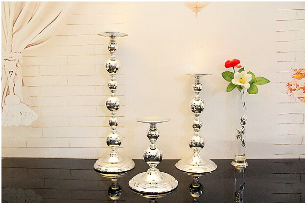 Silver iron metal cylinder candle holder set pillar candle stand candlestick for home candle holders wedding decoration 2202B(China (Mainland))