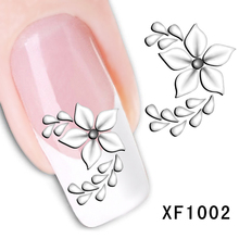 Free shipping fashion style watermark 1 Sheets 3D Design pretty white flower Tip Nail Art nail sticker nails Decal nail tools