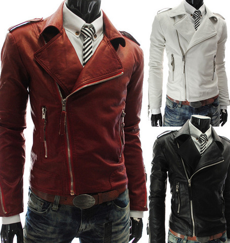 Fashion 2015 Men Motorcycle Leather Jacket Zipper Deocration Spring Thin Plain Style Solid Color Red White Black Leather Jacket(China (Mainland))