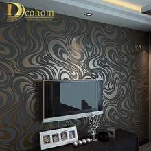 High quality 0.7m*8.4m Modern Luxury 3d wallpaper roll mural papel de parede flocking for striped wall paper 5 color R136(China (Mainland))