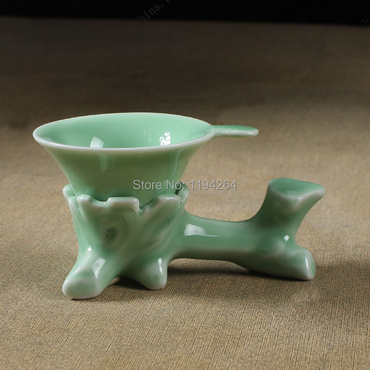 Longquan Kiln Celedon Ware Stump Pattern Mesh Strainer Filter Kungfu Tea