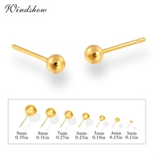 24K Yellow Gold Plated Piercing Small Round Ball Stud Earrings for Women Children Baby Girls Kids Jewelry Anti-Allergic nose(China (Mainland))