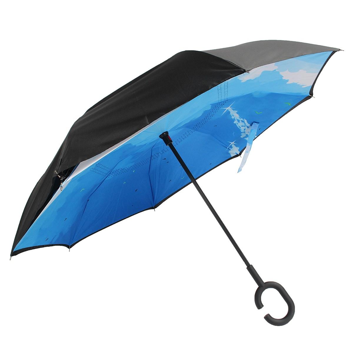 Blue C-Handle Windproof Reverse Umbrella Double Layer Sun Rain UV Proof Umbrella Upside Down Inverted Bumbershoot Rain Gear(China (Mainland))