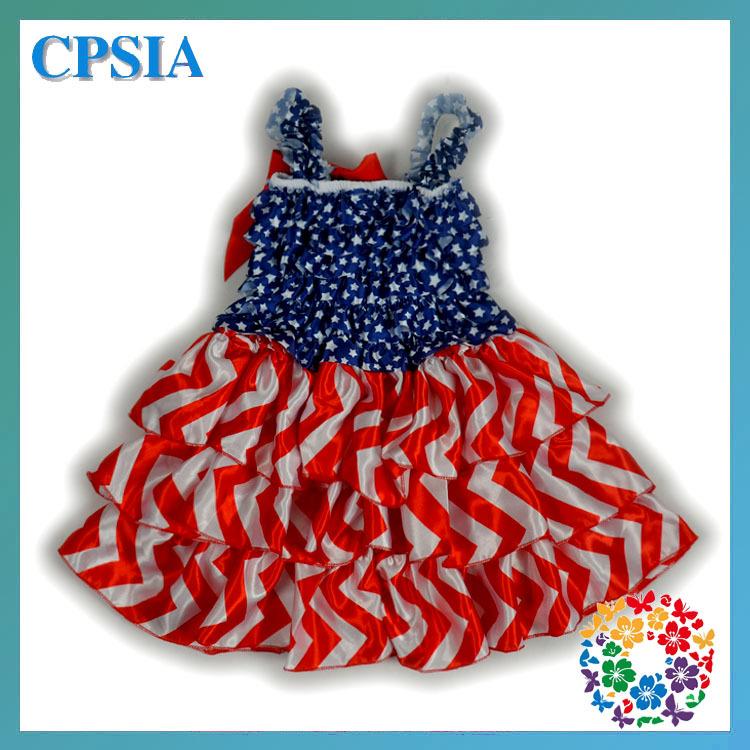 DFL Free Baby Dress Star Flag Printed Baby Dresses Toddler Smocked Summer Dresses Infant Chevron Dress Fashion Design 24pcs/lot(China (Mainland))
