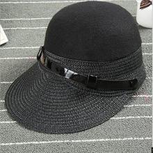 2016 Fashion Mixed Color Black Straw Knitting Wool Fedora Hat Equestrian Knight Cap Baseball Caps Sun Hat Personality Femme Men(China (Mainland))