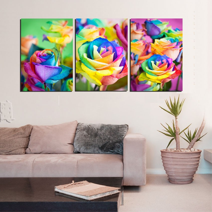 Modern Home Decoration 3 Panel Wall Art Canvas Prints Color Rose Painting Flower Printed Drawing Picture For Living Room Bedeoom(China (Mainland))