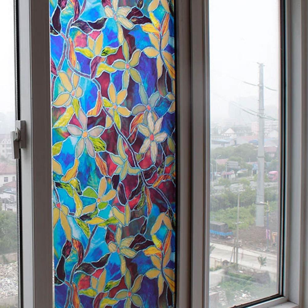Teint verre fleur promotion achetez des teint verre for Decoration fenetre statique