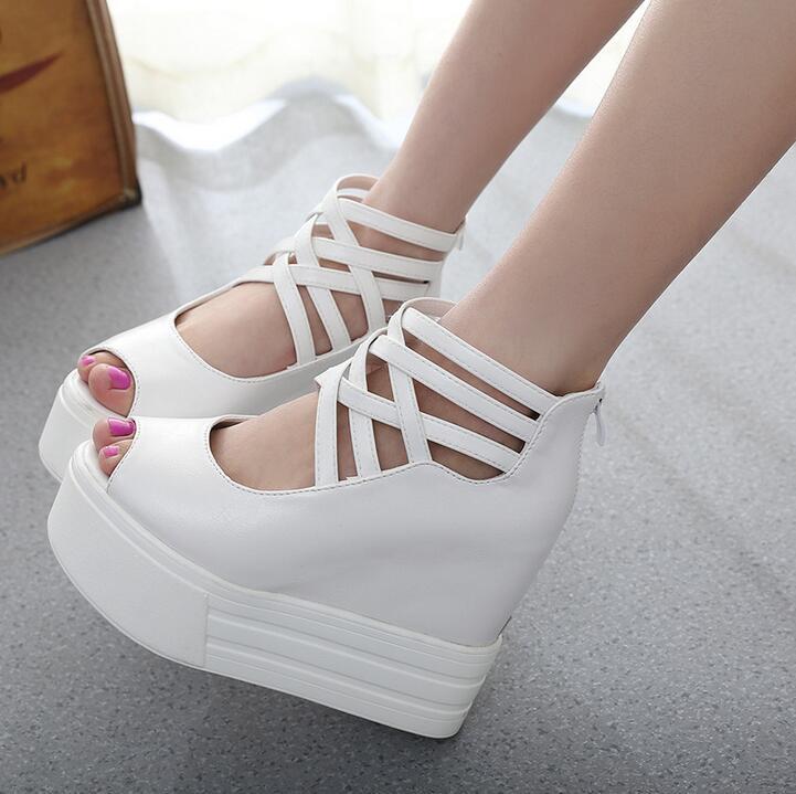 Hot 2016 new fashion women shoes women sandlas Hollow out zipper thick high-heeled platform fish mouth sandals free shipping B18(China (Mainland))