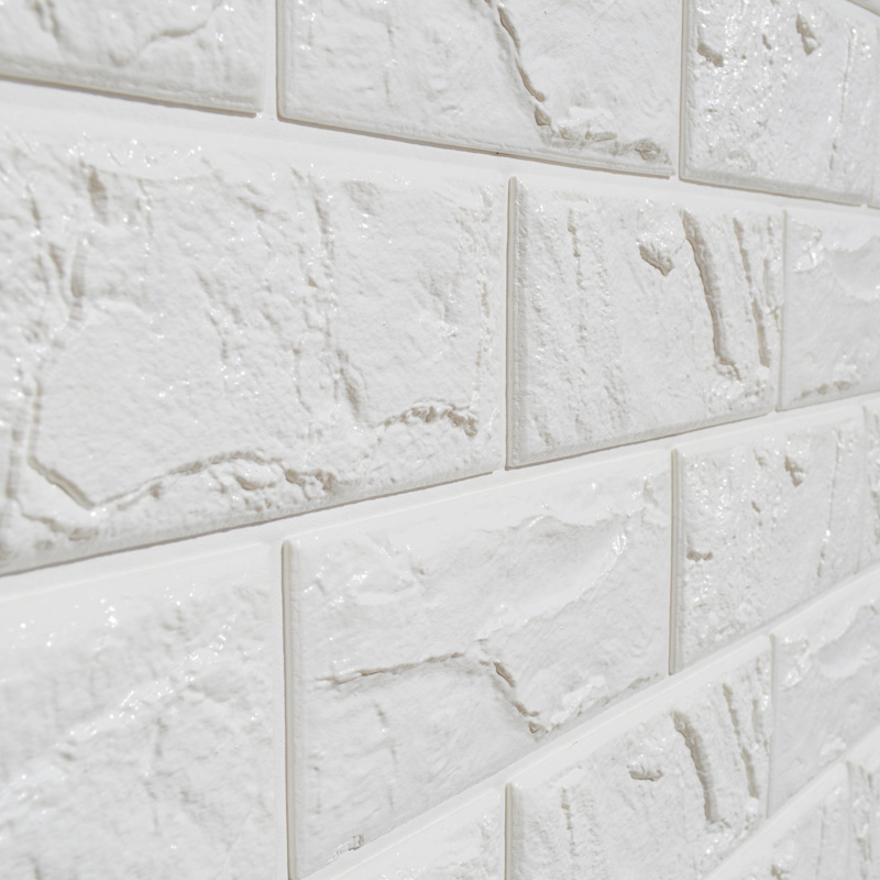 1pc white embossed 3d brick wall sticker panel soft for White 3d wallpaper for walls