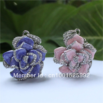 wholesale Retail genuine 2G/4G/8G/16G/32G/64G usb flash drive memory pen stick Swarovski Rose Jewelry Metal Free shipping