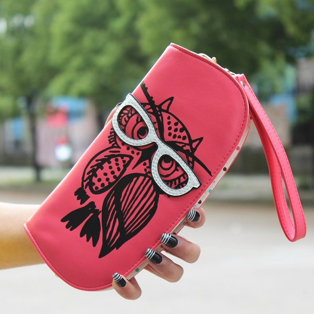 New Long Women Wallet Cute Owl Glasses Clutch Female Hit Color Fashion Rounded Zipper Change Purse Card & ID Holder Lady Wallets(China (Mainland))