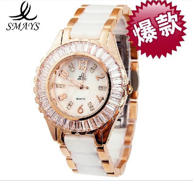 free shipping original SMAYS brand lady ceramics crystal watch+Czech crystal watch+fashion crystal women watch+high quality<br><br>Aliexpress