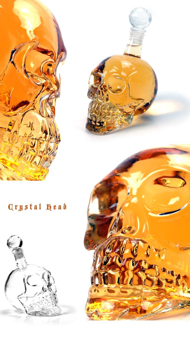 Free Shipping 1Piece 1000ml Super Big Size Crystal Head Vodka Skull Bottle with Retail Package(China (Mainland))