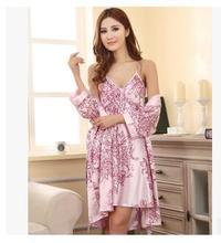 Brand New 2014 Silk Women Nightgown Robe Sets 2014 Brand Sleepwear Set Silk Nighties Sleepwear Silk Robe Women Sleepwear WD1636(China (Mainland))