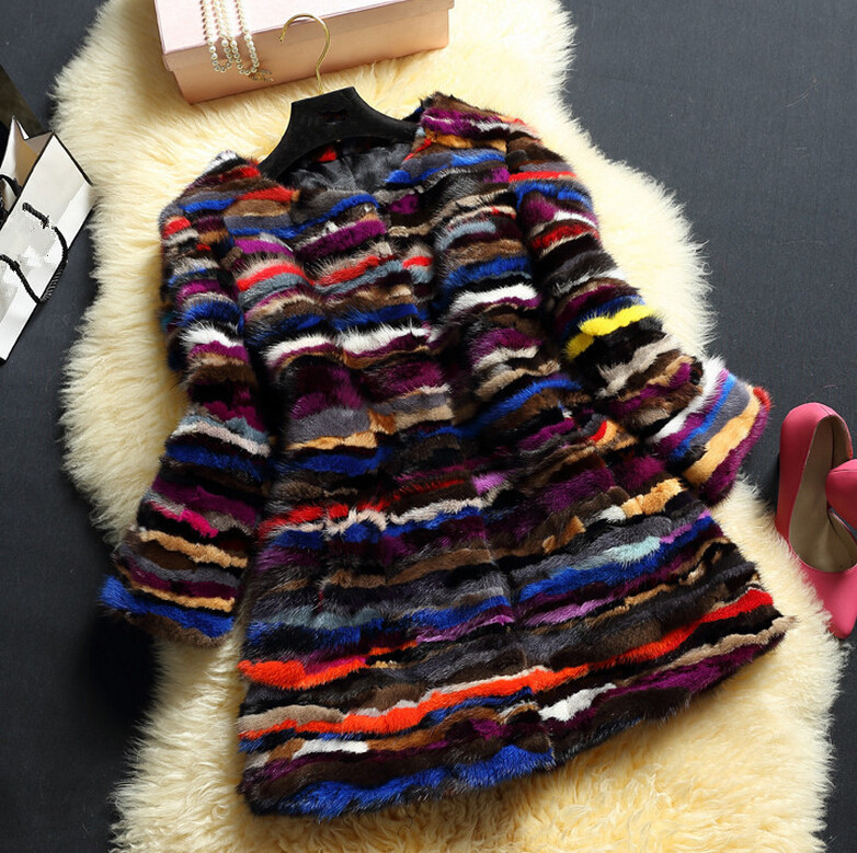 100% genuine real mink fur garments for women colorful real fur long coats 2015 new arrivals real mink fur jackets WH7031(China (Mainland))
