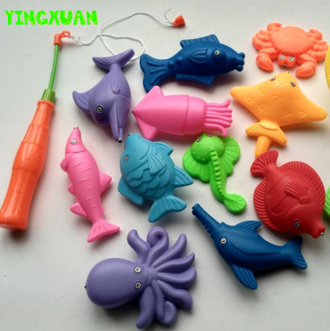 14pcs Set Magnetic Fishing Toy Game Kids 1 pieces Rod 1 net 12 3D Fish Baby Bath Toys Educational(China (Mainland))