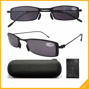 R12005 Thin Stainless Steel Frame Sun Readers Gray Tinted Lens Reading Glasses+1.0/+1.25/1.5/1.75/2.0/2.25/2.5/2.75/3.0