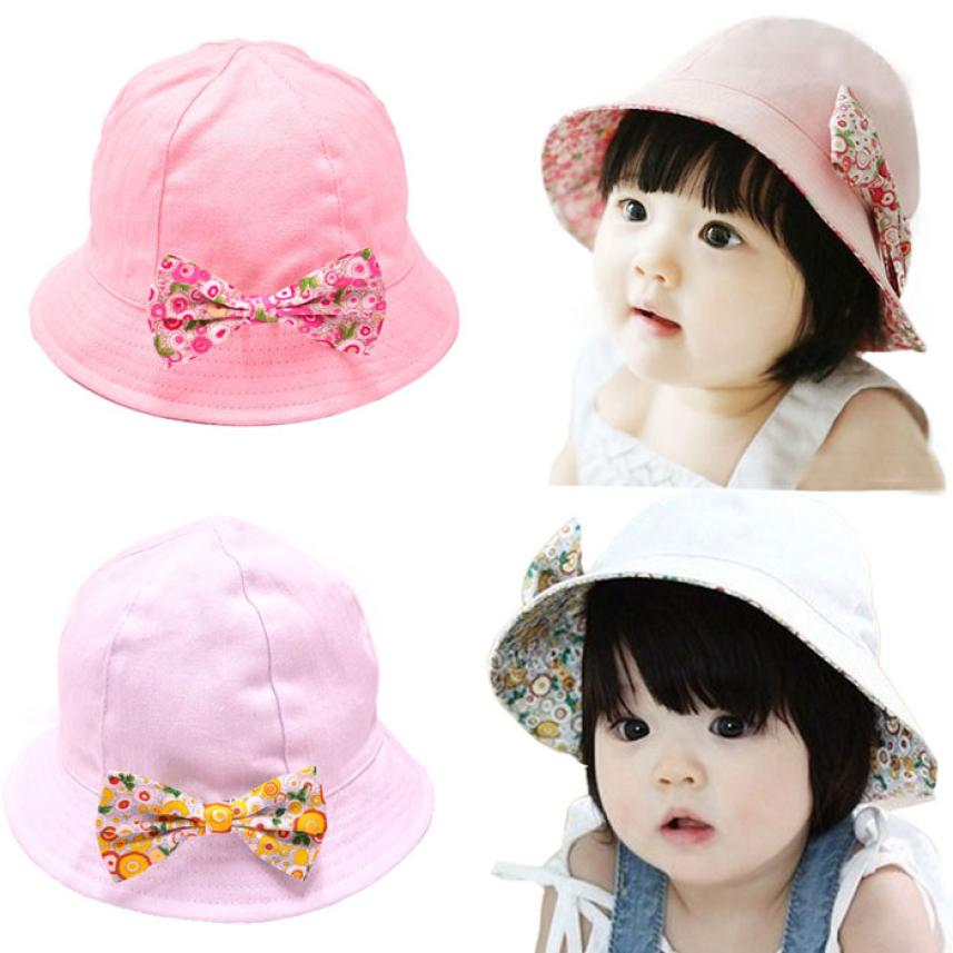Excellent Baby Infant Floral Bowknot Hat Floral Bonnet Hat Sun Bucket Travel Outside Children Unisex Summer Baby Girl Boy Hat(China (Mainland))