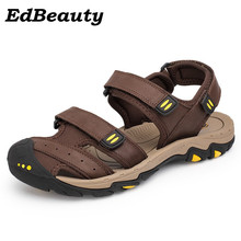 Buy Ed Beauty Genuine Leather Men Sandals Shoes Men Outdoor Hook&Loop Casual Dress Summer Sandal Male Beach Slippers Size 38-46 for $28.54 in AliExpress store