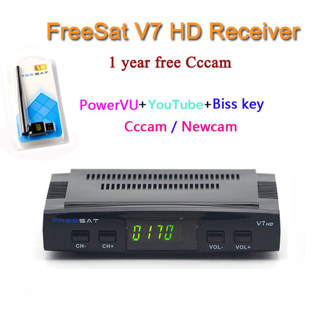 DVB-S2 Freesat V7 Receptor satellite Decoder+USB WIFI with cccam cline for 1 year HD 1080p BISS Key Powervu satellite receiver(China (Mainland))