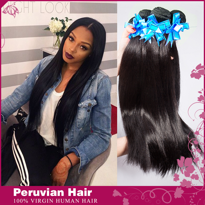 Peruvian Virgin Hair Straight Human Hair Weave 4pcs Lot Natural Black Peruvian Straight Hair Bundles Extension(China (Mainland))