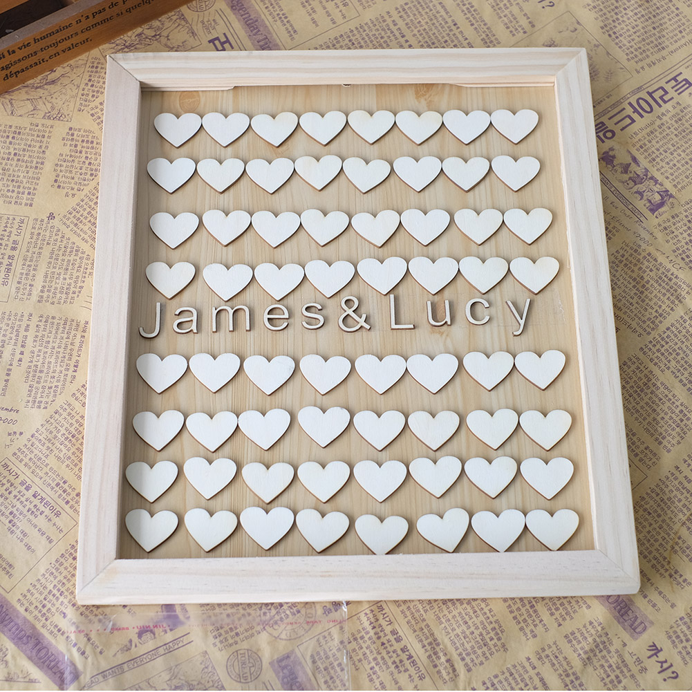 Unique Personalised Wedding Guest book Alternative Wooden Heart Custom Name Guestbook with Heart Fashion Wedding Guest Signature(China (Mainland))