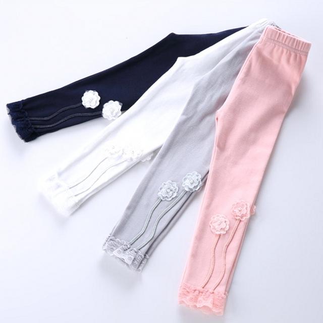 Весна осень девушка хлопка гетры цветочные штаны детей девушки теленка брюки 4 цветов