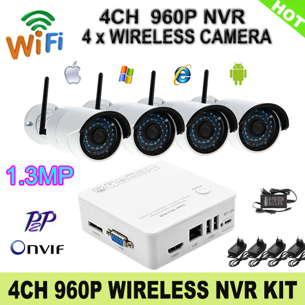Гаджет  4CH Wireless NVR Kit Onvif 1080P HDMI Network Video Recorder 960P Wifi IP Camera With 36 Leds P2P Cloud Service CCTV System Kit None Безопасность и защита