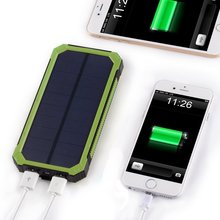 Carabiner Design Mini Power Bank PowerGreen Waterproof 15000mAh Solar Cell Charger for Mobile Phone