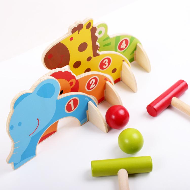 Wooden educational toys small animal baseball croquet baby(China (Mainland))