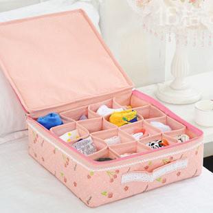 Pink cherry 16 underwear storage box finishing box tape zipper socks panties storage box 0.3(China (Mainland))